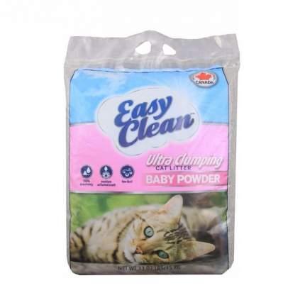 Комкующийся наполнитель для кошек Easy Clean бентонитовый, детская присыпка, 15 кг