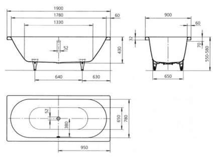 Стальная ванна KALDEWEI Classic Duo 114 Easy-clean 190х90 без гидромассажа