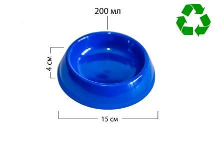 Миска для животных Киспис, антибактериальный экопластик, синяя, 200 мл