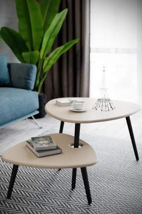 Журнальный столик Калифорния Стилгрей 60,5х61,5х27/77х78х46 см, серый лён/коричневый