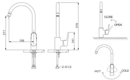 Смеситель для кухонной мойки BRAVAT F7105161C