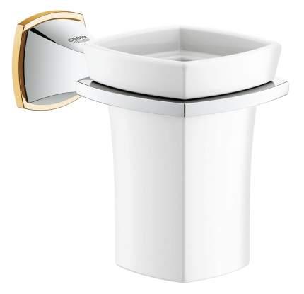 Стакан для зубных щеток Керамический, с держателем GROHE Grandera, хром/золото