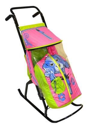 Санки-коляска Скользяшки Снегурочка Собачка розовые с салатовым