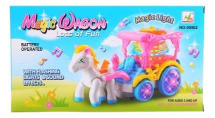 Карета для куклы на батарейках со светом и звуком с лошадкой