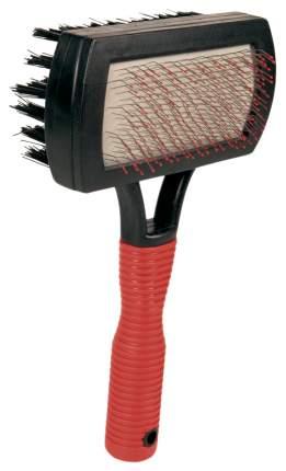 Щетка для собак TRIXIE двусторонняя с каплей для пуделей, 17х10 см, цвет красный, черный