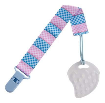 Прорезыватель классический ROXY-KIDS На держателе голубая, розовая клеточка