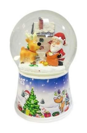Снежный шар Новогодняя сказка Дед мороз с оленем 10 см, мелодия, движение 972482