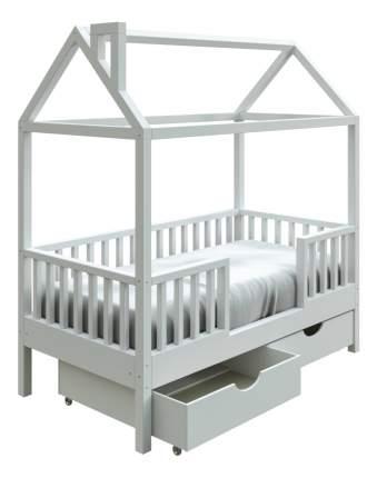 Кровать-домик Трурум KidS Сказка узкий бортик, ящики белая
