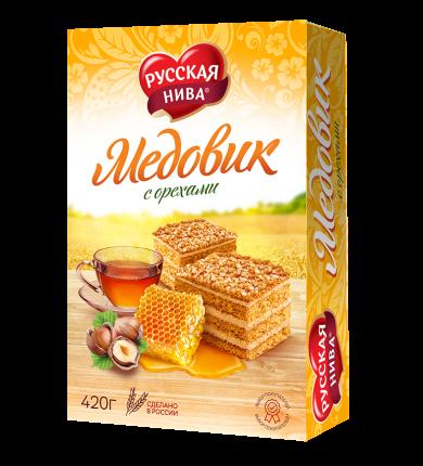 Торт медовик с орехами Русская Нива медово-песочный 420 г