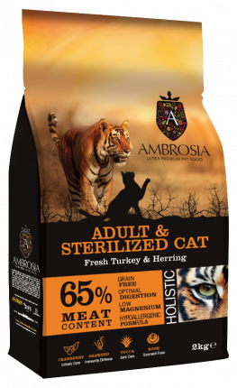 Сухой корм для кошек Ambrosia Adult&Sterilized Fresh Turkey&Herring, индейка и сельдь, 2кг