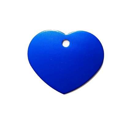 Адресник на ошейник для собак BestforPet, в форме сердца, голубой, 3,2см