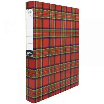 Папка-файл Index на 4 кольцах, лам., Шотландка, диаметр 30мм