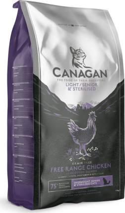 Сухой корм Canagan Gf Light Senior Sterilised для пожилых кошек1,5 кг, Цыпленок, лосось