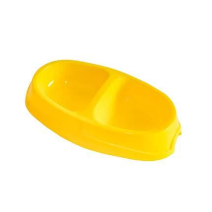 Миска для животных Киспис, двойная, антибактериальный экопластик, желтая, 200 мл + 200 мл