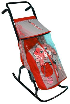 Санки-коляска R-Toys Снегурочка 2-Р Собачка, серый/красный