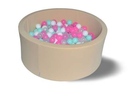 Сухой игровой бассейн Ванильное мороженое 40см с 200 шарами: бел, прозр, мятн, розов