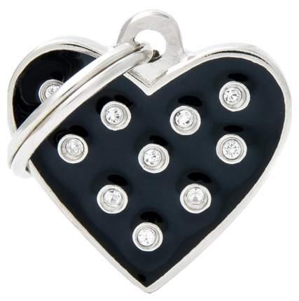 Адресник My Family Chic со стразами в форме сердца (2 х 2 см, Черный)