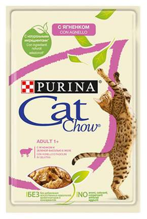 Влажный корм для кошек Cat Chow Adult, ягненок, зеленый горошек, кусочки, 24шт, 85г