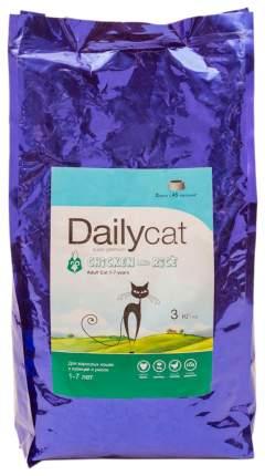 Сухой корм для кошек Dailycat Indoor, для домашних, курица и рис, 3кг