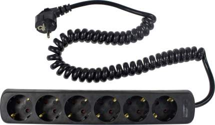 SCHWABE 6 розеток 2,5м витой кабель 3х1,5 250В 16А 3500Вт черный 11462 AS