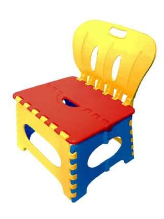 Табурет Трикап складной пластиковый со спинкой красный/желтый/синий