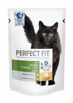 Влажный корм для кошек старше 7 лет Perfect Fit Senior с курицей в соусе, 24 шт по 85г