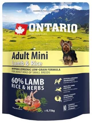 Сухой корм для собак Ontario Adult Mini, для мелких пород, ягненок и рис, 0,75кг