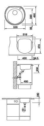 Мойка для кухни гранитная Blanco RONDOVAL 45 517392 серый