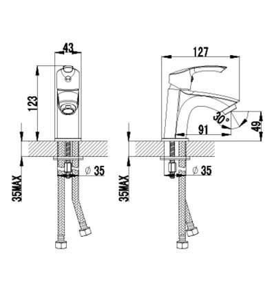 Смеситель для раковины LEMARK Plus Strike LM1106C хром