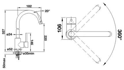 Смеситель для кухонной мойки Blanco MIDA-S 521730 мускат