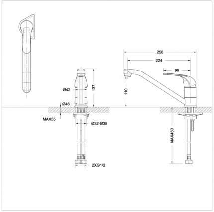 Смеситель для кухонной мойки BRAVAT F7135188CP-RUS