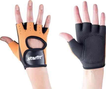 Перчатки для фитнеса StarFit SU-107, черные/оранжевые, 7