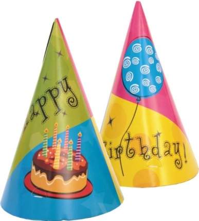 """Колпаки для праздника ACTION! """"С Днем Рождения!"""" 6 шт. (API0120)"""