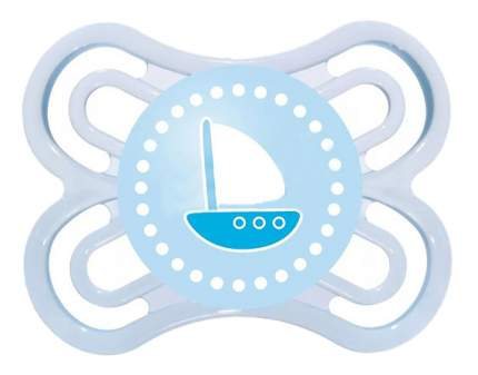 Силиконовая пустышка ортодонтическая MAM Perfect кораблик голубая