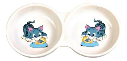 Двойная миска для кошек TRIXIE, керамика, белый, синий, 2 шт по 0.15 л
