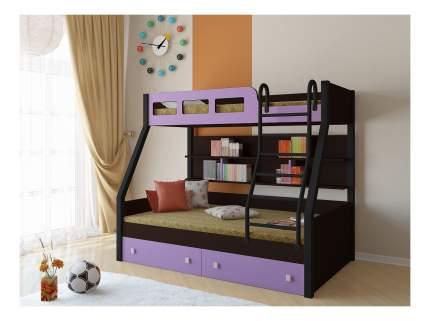Двухъярусная кровать РВ мебель Рио каркас венге/черный фиолетовая