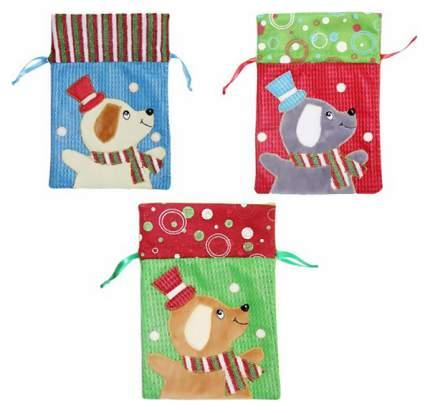 Мешок для подарков Новогодняя сказка Собачка 16,5x24 см