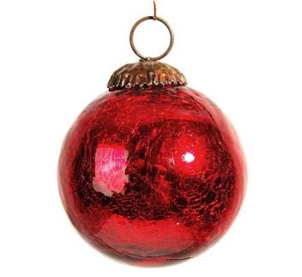 Винтажный шар Kaemingk 75 мм красный состаренный, стекло 190037