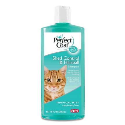 Шампунь для кошек 8in1 Perfect Coat Shed Control&Hairball против линьки и колтунов, 295 мл