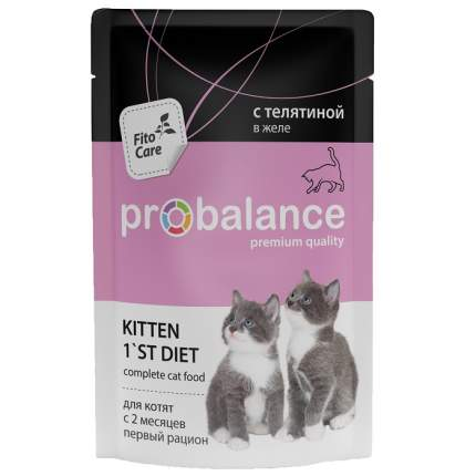 Влажный корм для котят ProBalance 1'st Diet, телятина, 25шт, 85г