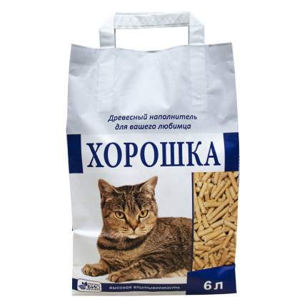 Наполнитель для кошачьего туалета ХОРОШКА, древесный, 6л