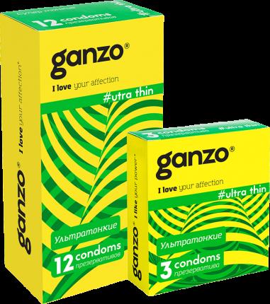 Презервативы Ganzo ultra thin спайка пачка 12 шт. + пачка 3 шт.