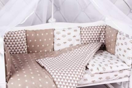 Бортик в кроватку 12 предметов AmaroBaby ROYAL BABY коричневый