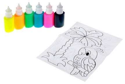 Витражные краски Луч Аппликация с блестками 6 цветов