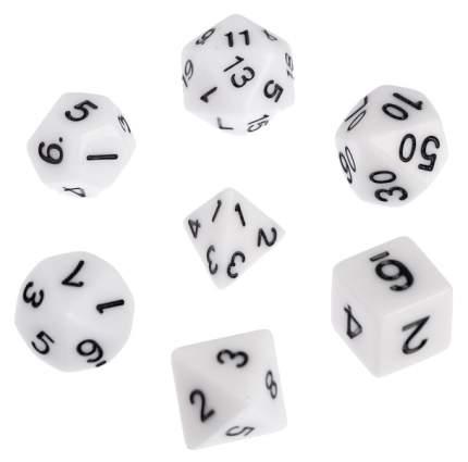 Классический набор дайсов, набор из 7 костей, белые Sima-Land