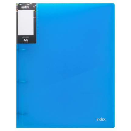 Папка на 4 кольцах Index Colourplay Light, A4, 0.6 мм, Прозрачная/Синяя