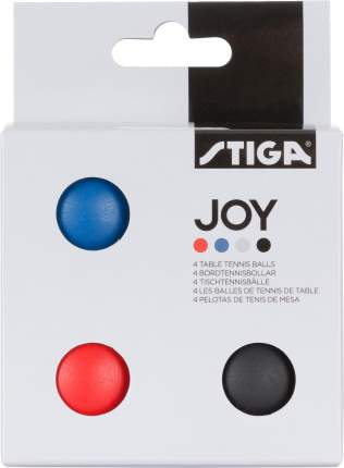 Мяч для настольного тенниса Stiga Joy ABS 4 шт., белый/красный/синий/черный