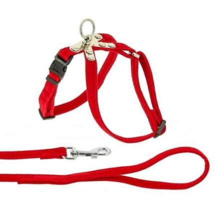 Комплект Поводок и шлейка Каскад флок красный для собак (120 см + 20/30 см, Красный)