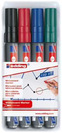 Набор маркеров Edding 250 Cap-off для белых досок, 4 цвета в наборе