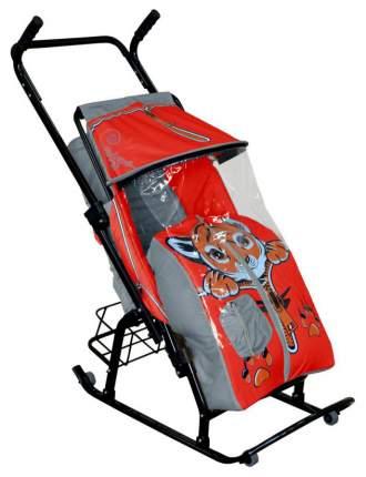Санки-коляска R-Toys Снегурочка-2-Р Тигренок, серый/красный